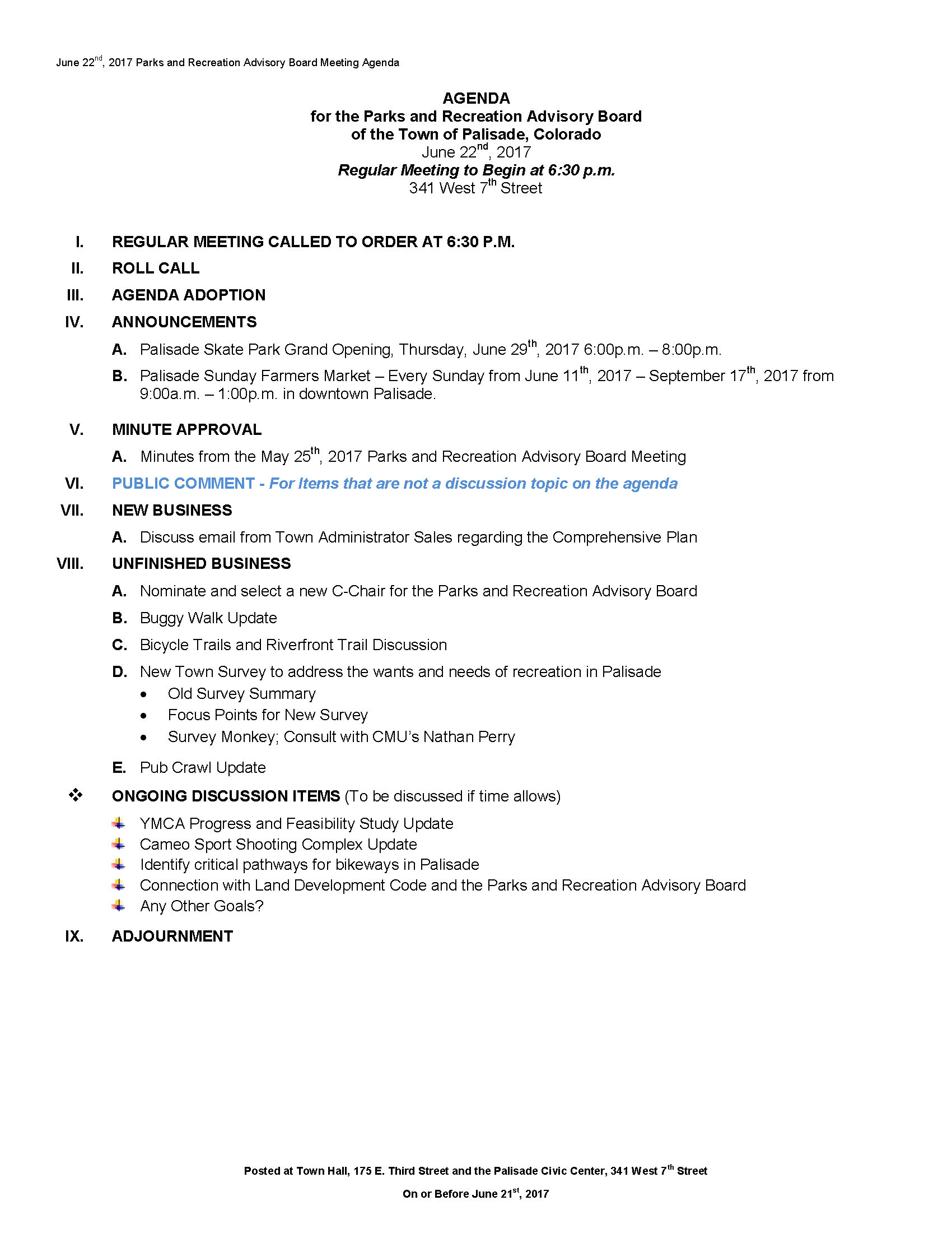 June 22nd 2017 PRAC Meeting Agenda