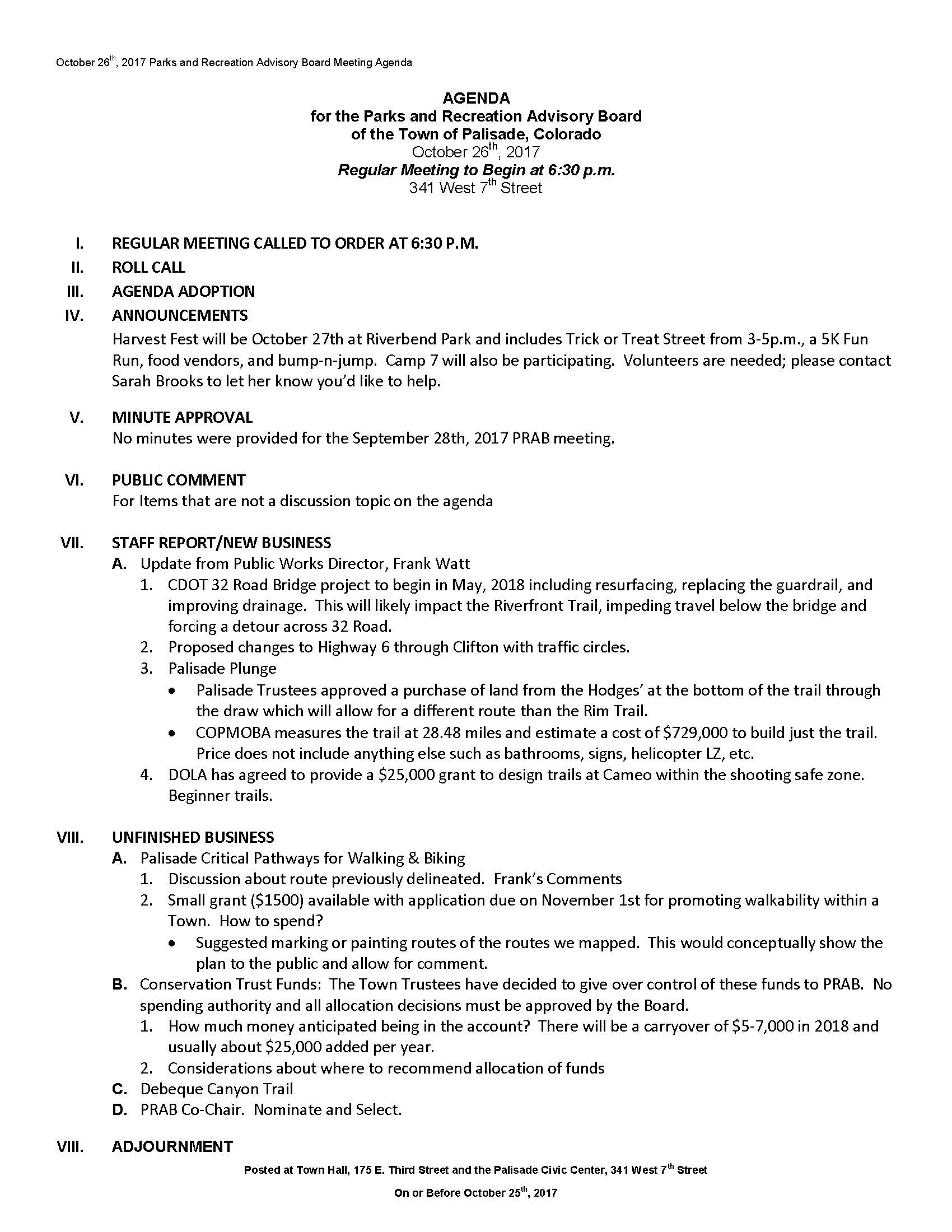 October 26th 2017 PRAC Meeting Agenda Page 1