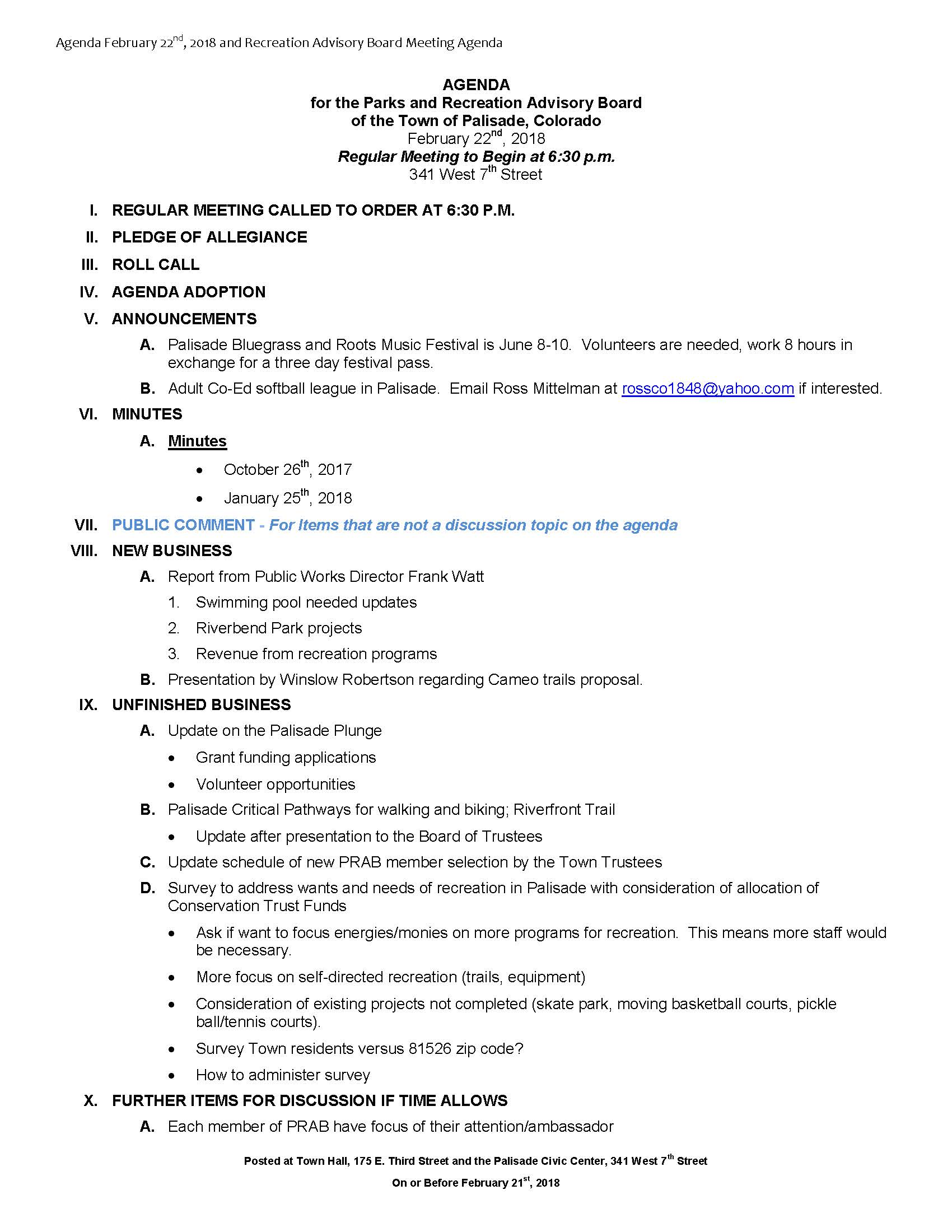 February 22nd 2018 PRAB Meeting Agenda Page 1