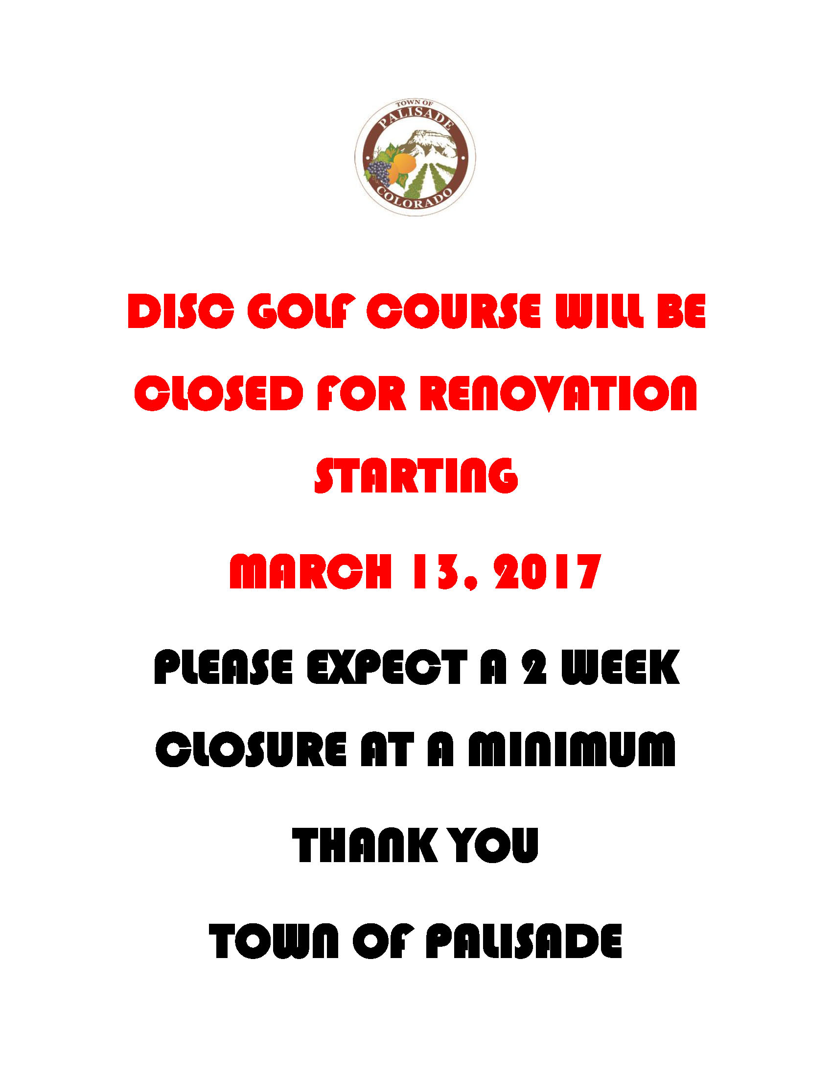 DISC GOLF CLOSED FOR RENOVATION