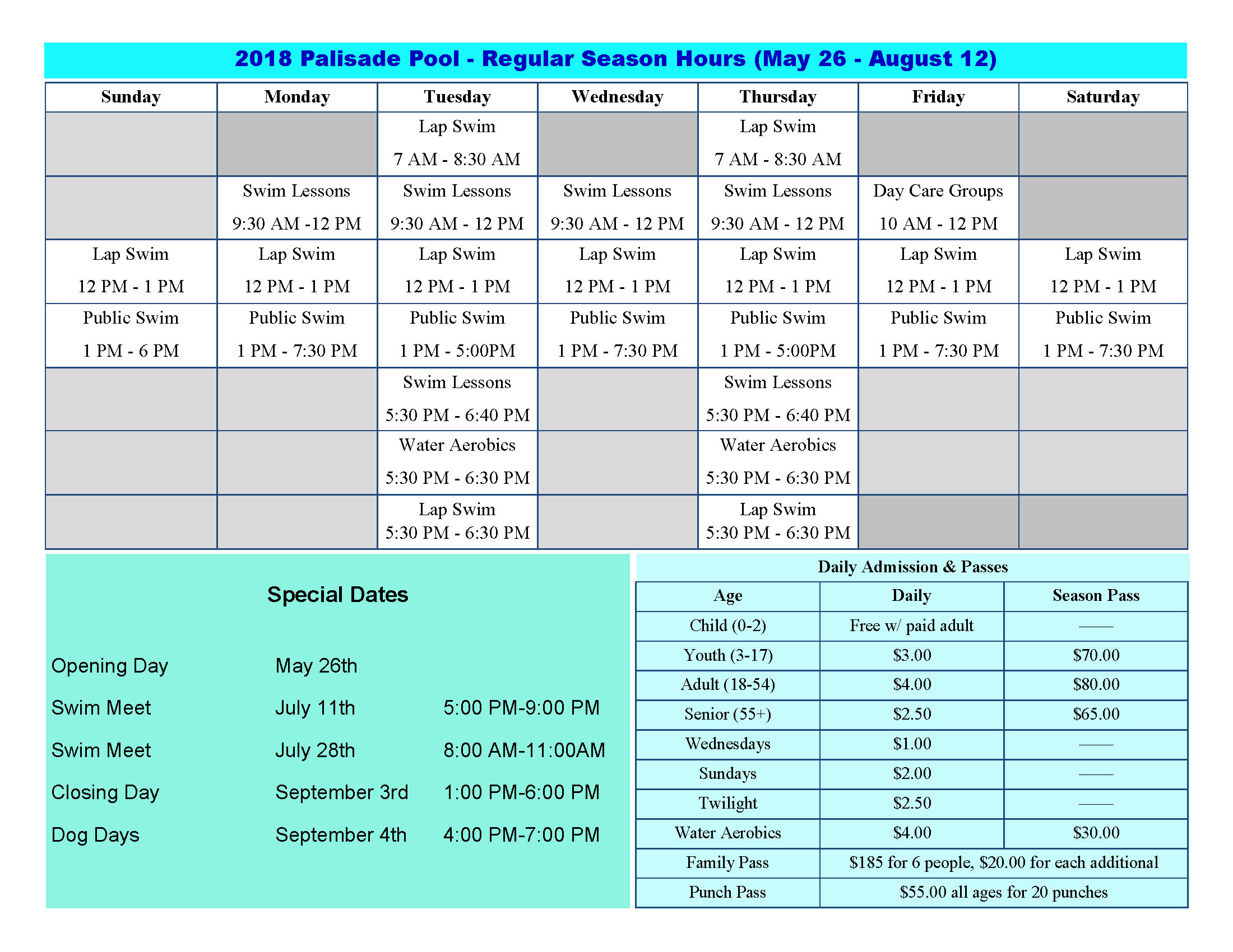 2018 pool schedule Page 1