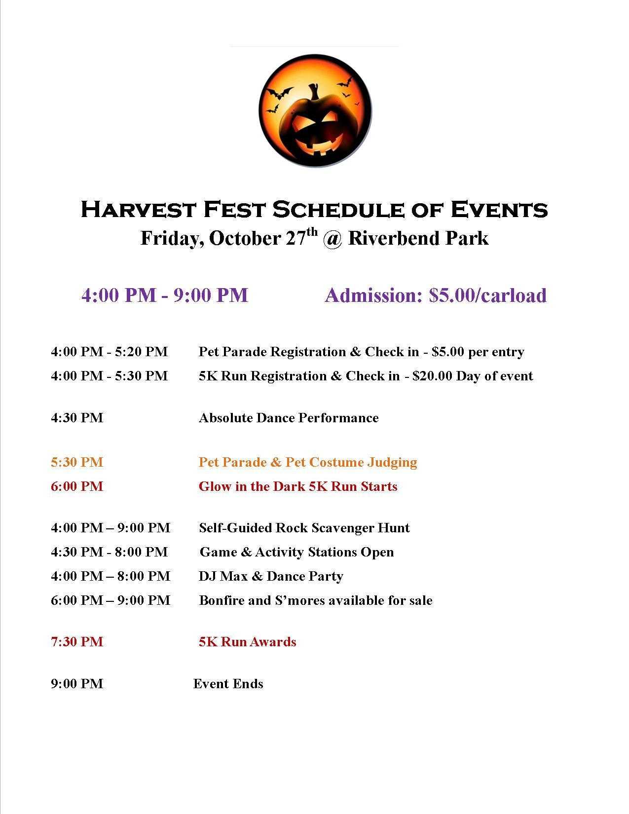 Harvest Fest Schedule of events 2017