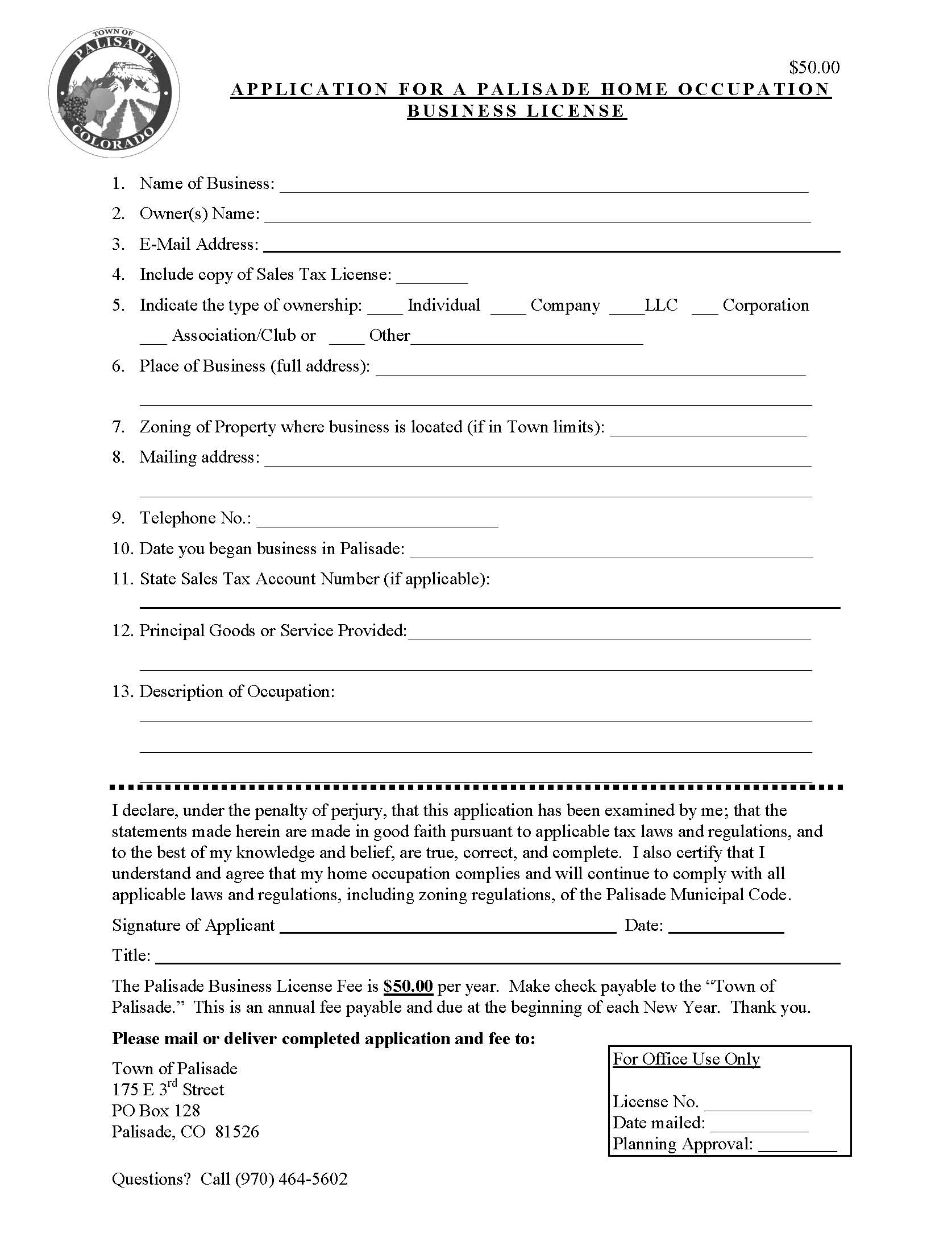 Home Business License Application Page 1