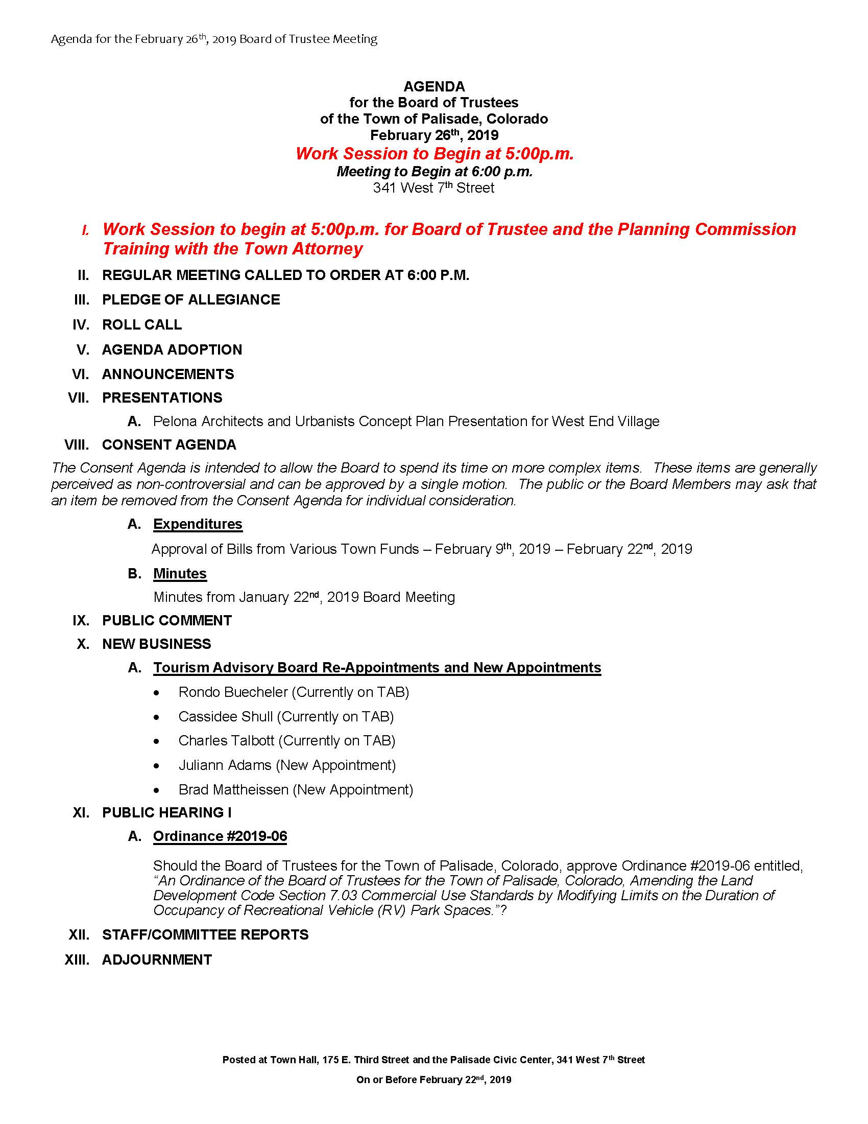 February 26th 2019 Board Meeting Agenda