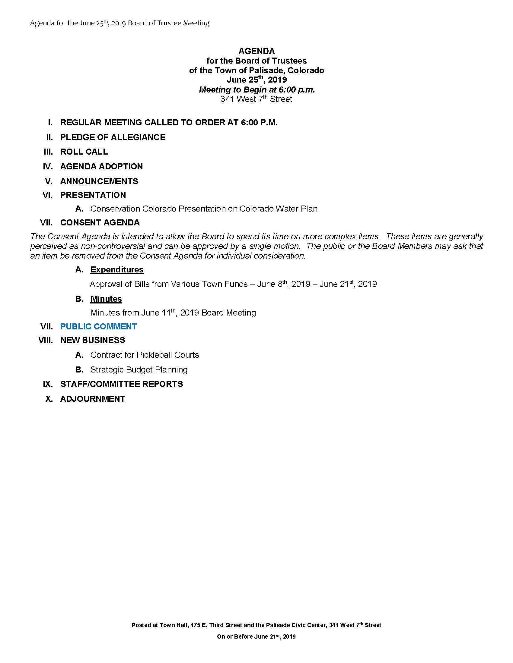 June 25th 2019 Board Meeting Agenda