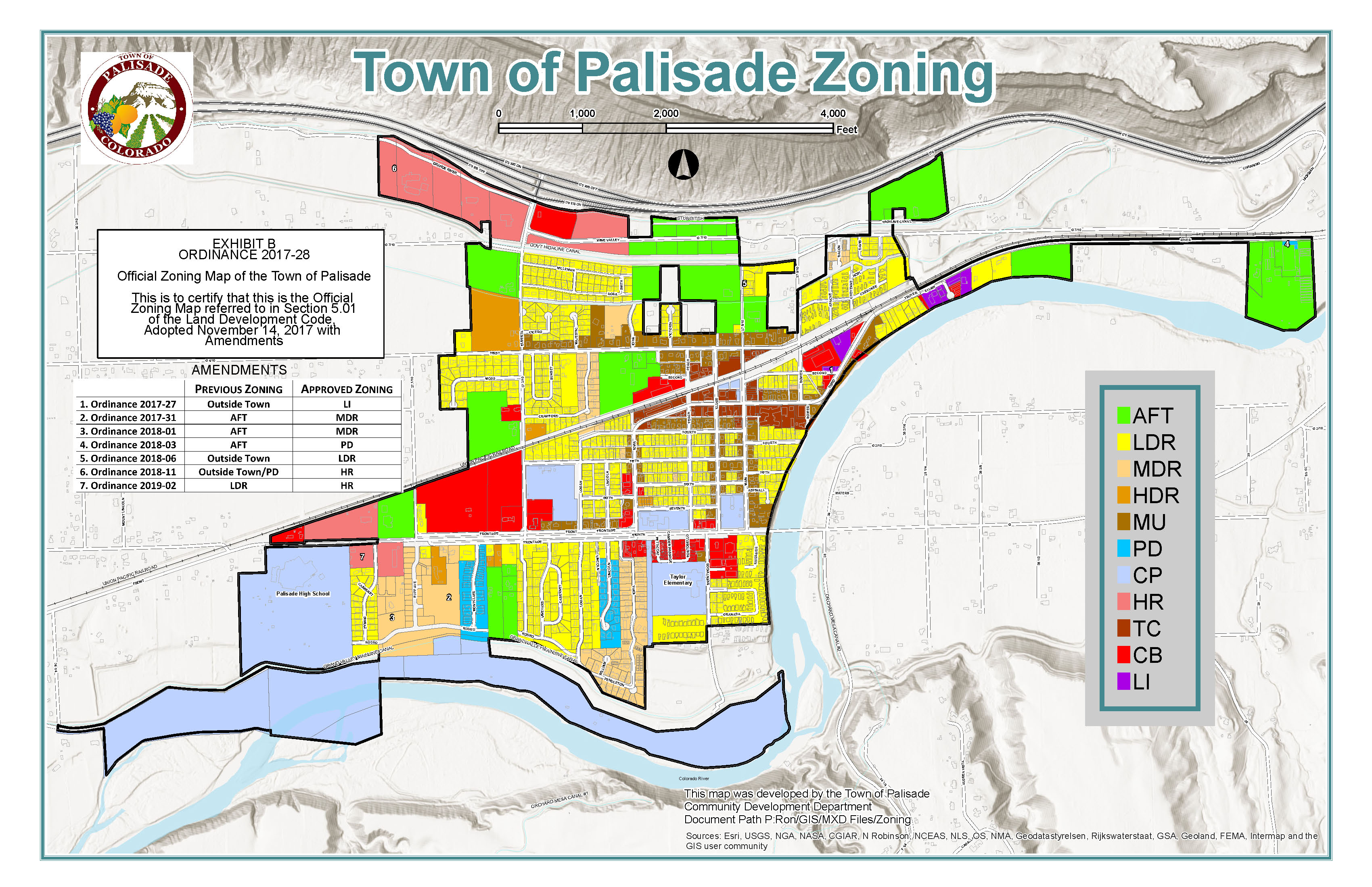Town of Palisade Official Zoning Map Updated April 2019