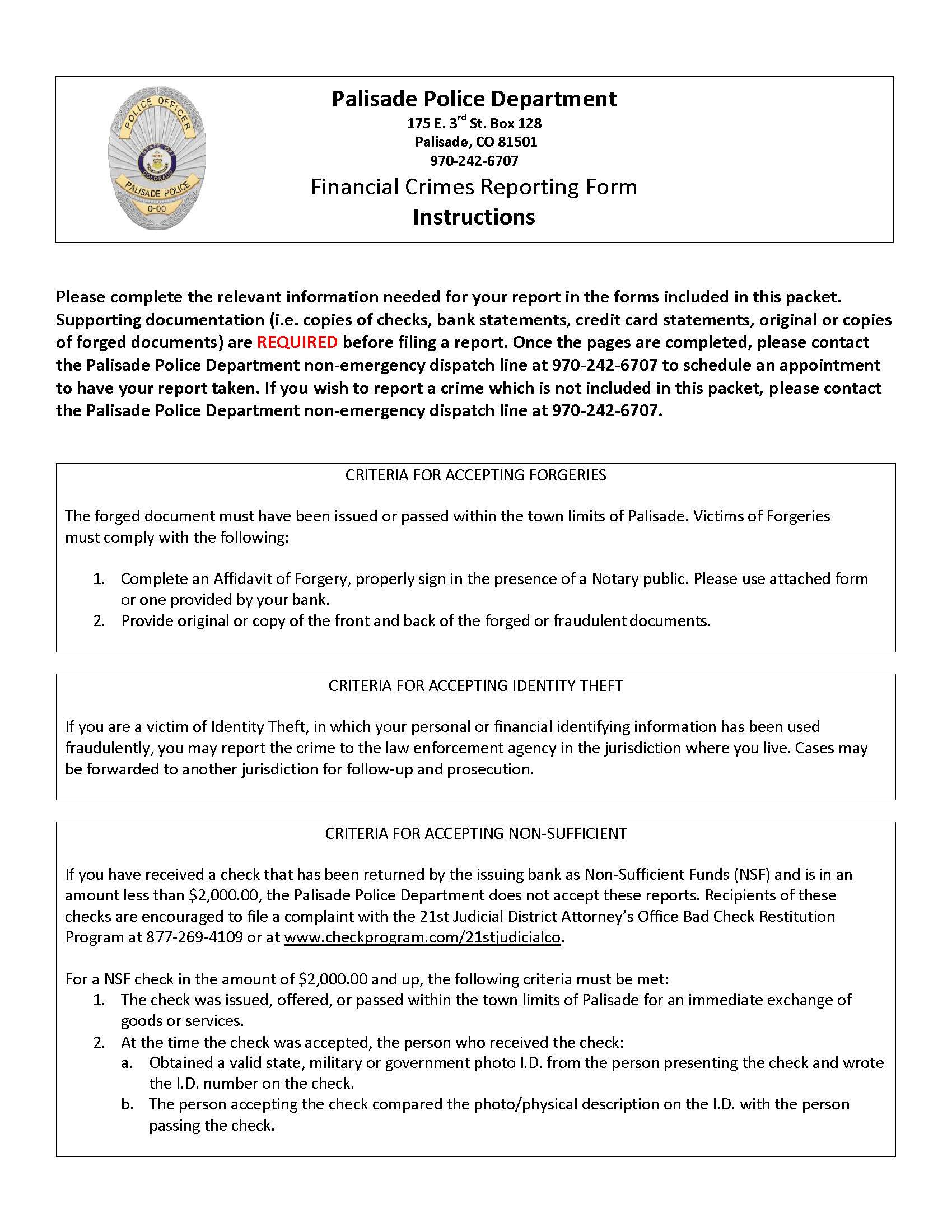 PPD Fraud Packet Page 1
